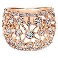14k Pink Gold Diamond Fashion Ladies' Ring   Gabriel