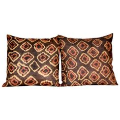 Antique African tie-dyed Kuba cloth pillow pair with Dupioni silk backing. | From a unique collection of antique and modern pillows and throws at https://www.1stdibs.com/furniture/more-furniture-collectibles/pillows-throws/