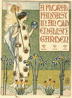 A beautiful fairy gazes into her crystal ball surrounded by iris. What could her eyes be seeing in this magical garden?    Artist: Walter Crane (1845-1915)    Image Appears In: A Floral Fantasy In an Old English Garden    Date Image Published: 1899