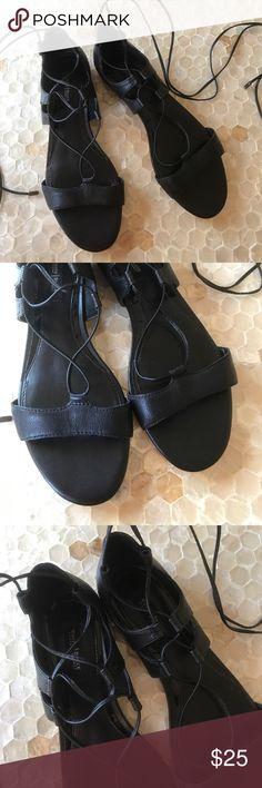 NWOB White House | Black Market Leather Sandals New without box! White House | Black Market black leather sandals ( not real leather) lace up straps. Size 7.5 White House Black Market Shoes Flats & Loafers