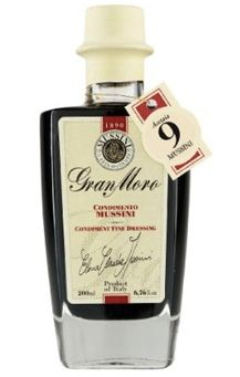 """Product Description  The Mussini Atelier of flavor has a brand new precious secret. It's """"Gran Moro"""" 9 Year Balsamic Vinegar, a condiment made especially for connoisseurs who love to add the flavor of an antique tradition in modern recipes. www.dolceterra.com #Mussini #Gran #Moro #9 #Years"""