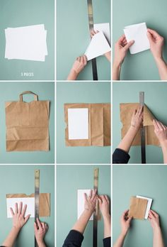 5 minute bookbinding tutorial and how-to- The House That Lars Built Handmade Notebook, Diy Notebook, Handmade Journals, Book Crafts, Diy And Crafts, Paper Crafts, Recycler Diy, Paper Bag Books, Homemade Books