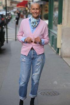 Torn Jeans and Cashmere — Linda V Wright Mature Fashion, 60 Fashion, Over 50 Womens Fashion, Fashion Over 50, Autumn Fashion, Fashion Outfits, Fashion Trends, Street Fashion, Lolita Fashion