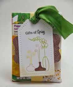 Gifts of Spring tag, Peaceful Valley seed packets wrapped with May Arts ribbon and PTI stamps