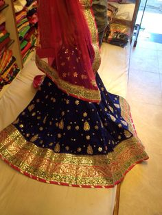 Raw silk Lehenga with gota patti work on it Pakistani Dresses, Indian Dresses, Indian Outfits, Indian Attire, Indian Wear, Raw Silk Lehenga, Desi Wedding Dresses, Rajputi Dress, Desi Wear