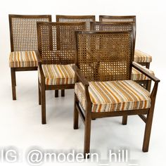 Lane Mid Century Brutalist Walnut & Cane Back Dining Chairs - set of 6 These Chairs are 21.75 Wide and 21.5 Deep by 34 High with a 23.5 Arm Height and 18.5 Inch Seat Height This set is available in what we call Restored Vintage Condition. Upon purchase it is fixed so it's free of watermarks, chips or deep scratches with color loss; as well as thoroughly cleaned - at no extra charge but this takes a bit longer to ship than if you don't choose this option.