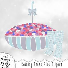 Spring Clipart Raining Roses Blue Set, commercial use clipart, rain boots, rainboots, umbrella, spring baby shower, rain boots stickers Purple Roses, White Roses, Baby Shower Clipart, Baby Shower Cupcake Toppers, Pretty And Cute, Baby Shower Decorations, Nursery Decor, Rain Boots, Shabby Chic
