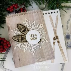 Ahh, winter is here! What better time to play with the gorgeous Alpine Adventure stamp set. It is perfect for Christmas and all things sn. Christmas Sled, Christmas Paper Crafts, Stampin Up Christmas, Christmas Gift Tags, Christmas Greeting Cards, Christmas Greetings, Alpine Adventure, Christmas Catalogs, Card Patterns