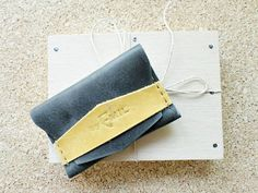 Distressed Grey Leather Wallet Card holder hand by ArtNotebooks