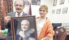 BJP leader Ruby Yadav meets Ambassador of Palestine, gifts portrait of PM Modi