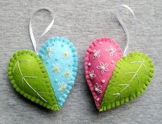 Spring Hearts Felt Ornament flowers handmade embroidery Handing, easter decoration, home decor,  green pink blue white