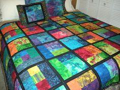 Bright Batik Quilt 2 ... with black sashing ... made with extra blocks