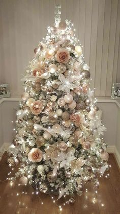 And Elegant Floral Christmas Tree Ideas Farmhouse Trees. Marvelous rose gold and bush pink decoration on Christmas tree with lights. Marvelous rose gold and bush pink decoration on Christmas tree with lights.