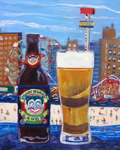 Beer Painting of Coney Island Lager by Shmaltz Brewing Co. Year of Beer Paintings - Day 277.