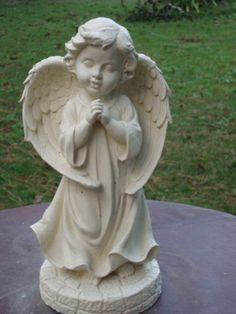 "Ivory Praying Angel Choir Boy Concrete Cement Statue | 13"" ht"