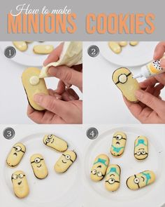 How to decorate despicable me minions cookies. These are used to put in pudding for a cute sundae or lunch dessert.