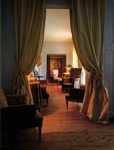 Isabelle Adjani's Left Bank home.  Upstairs, Jacques Grange helped Isabelle evoke the relaxed atmosphere of a country house. The bare wooden...