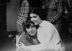 Mark Hamill and Carrie Fisher on the set of Star Wars.