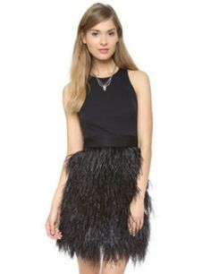 Milly Feather Cocktail Dress