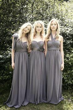 Long Convertible Chiffon Charcoal Bridesmaid Dresses 2014