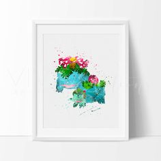 Pokemon Evolution Print, Nursery Art Print Wall Decor, Bulbasaur, Ivysaur, Venusaur Watercolor, Kids Bedroom Decor, Wall Art No. 19