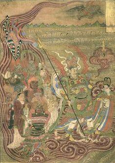 Thangka - vaishravana dunhuang. Buddha of wealth and  guardian of the northern direction