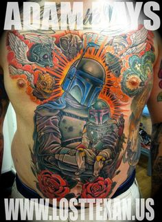 Incredible Boba Fett & Jango Fett Star Wars Tattoo by Adam Hays at www.losttexan.us