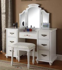 Beautiful Acme Furniture Torian White Vanity Set With Mirror