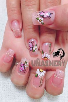 Ari Esta linda Los decorados Butterfly Nail Designs, Easter Nail Designs, Butterfly Nail Art, Pink Nail Designs, Flower Nail Art, Silver Nails, Pink Nails, White Nails, Gorgeous Nails