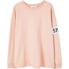 Message Cotton Sweatshirt (564.430 VND) ❤ liked on Polyvore featuring tops, hoodies, sweatshirts, pink long sleeve top, long sleeve cotton tops, pink top, long sleeve tops and round top