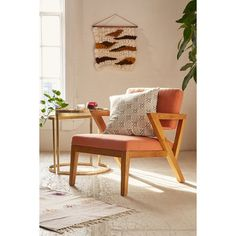 Tyler Mid-Century Chair (655 AUD) ❤ liked on Polyvore featuring home, furniture, chairs, accent chairs, orange, urban outfitters, urban outfitters chair, orange furniture, orange accent chair and mid century chair