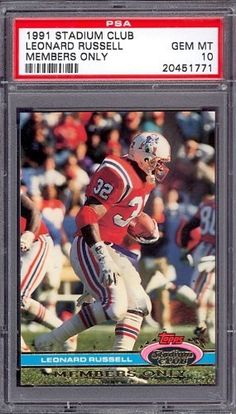 1991 Stadium Club Members Only Leonard Russell Patriots PSA 10 pop 1 by Stadium Club. $6.00. 1991 Stadium Club Members Only Leonard Russell Patriots PSA 10 pop 1. If multiple items appear in the image, the item you are purchasing is the one described in the title.