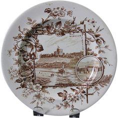 Aesthetic Brown Transferware Plate - Windsor Castle 1883