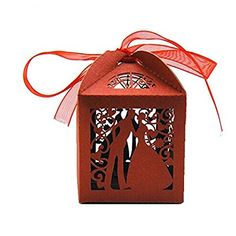 Couple Design Luxury Lase Cut Wedding Sweets Candy Gift Favour Boxes with Ribbon Table Decorations (Red) Wedding Favour Sweets, Wedding Party Favors, Candy Party Favors, Candy Gifts, Candy Boxes, Favor Boxes, Gift Boxes, Discount Handbags, Discount Purses