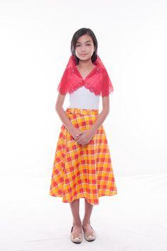 BW - Girls' Baro't Saya Red Set 003 Baro't Saya, Filipiniana, International Festival, Filipino, Traditional Dresses, Philippines, Midi Skirt, Plaid, Celebs