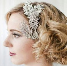 Bohemian Crystal Feathers Bridal Hair Clip. Sparkly Bridal Hair Piece
