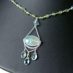 Peruvian blue opal necklace handmade peridot by envydesignsjewelry, $150.00