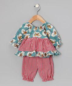 Teal Cowboy Pattycake Top & Pants - Infant by Beary Basics