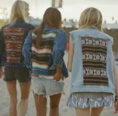 Found in LA: Gull Marie, a vintage-based line of jean vests and jackets. This awesome company hunts down the coolest retro denim and sews on hand-selected fabrics, so no two pieces are the same (all made in sunny Los Angeles). Festival Chic, Festival Fashion, Festival Gear, Moncler Jacket Mens, Feather Dress, Jean Vest, Boho Fashion, Womens Fashion, Body