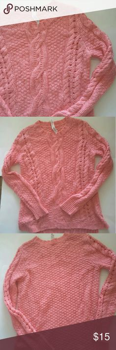 Aerospacal Light  king sweater some open knit area on sleeves and front of shirt oversized  21 inches from armpit to armpit 23 inches from shoulder to bottom of sweater slight high low Aeropostale Sweaters