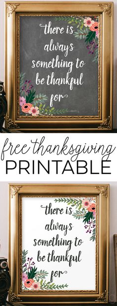 "Thanksgiving Decoration : Thanksgiving Quote - There's Always Something to Be Thankful For - 8x10"" Free Printable Wall Art via @frugalitygal"