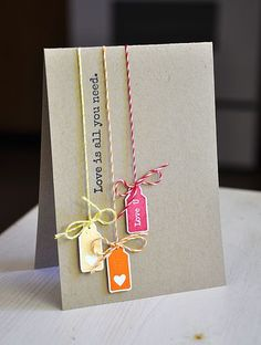 Love this card. Adorable use of tags and twine | by Maile Belles