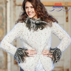"""Britney"" jacket from Dritto & Rovescio magazine, nr. 57   http://www.adriafil.com/uk/scheda-rivista.html?id_rivista=57  Yarns: Olimpo & Diablo, the perfect softy couple!   #adriafil #yarns #filato #wool #laine #wolle #lana #fashion #winter #moda #inverno #giacca #cardigan #trends #soft #yarn #madeinitaly #softness #mohair #cool #pattern #schedamaglia #maglia #handknit #knit #knitting #tricot #tricoter #britney"