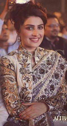 Ayeza Khan love sari and jacket combos Blouse Back Neck Designs, Saree Blouse Designs, Patiala Salwar, Anarkali, Lehenga, Indian Blouse, Indian Sarees, Indian Attire, Indian Wear