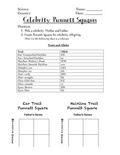 genetics info and punnett square activity for kids homeschool biology pinterest activities. Black Bedroom Furniture Sets. Home Design Ideas