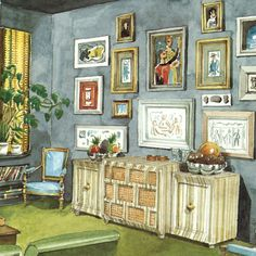 A snakeskin Victrola with casework panels catches the eye, but there is a lot more of the fifties evident in this view of William Pahlmann's living room. The color scheme is typical. Rendering by Mark Hampton. Interior Design Sketches, Interior Rendering, Interior And Exterior, Picture Arrangements, House Drawing, Vintage Interiors, Art For Art Sake, Illustrations And Posters, Busan
