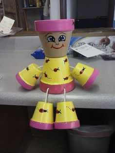 Flower pot people yellow and hot pink with by crazycraftingfriends, $25.00