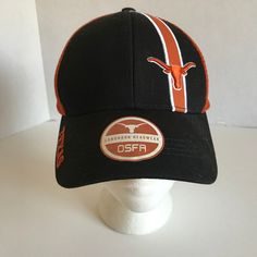 Longhorns Adjustable Baseball Cap Caps Hat Hats Texas Black Denim WHITE Logo