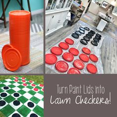 DIY Lawn Checkers Larger-than-life fun calls for larger-than-life games! DIY your own GIANT lawn che Outdoor Checkers, Giant Checkers, Giant Outdoor Games, Outdoor Party Games, Giant Games, Outdoor Fun, Outdoor Parties, Outdoor Camping, Diy Yard Games