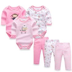 81e8189459891 6pcs lot Baby Girl Clothes Newborn Toddler Cotton Baby Rompers+ Baby Pants Baby  Clothing Sets